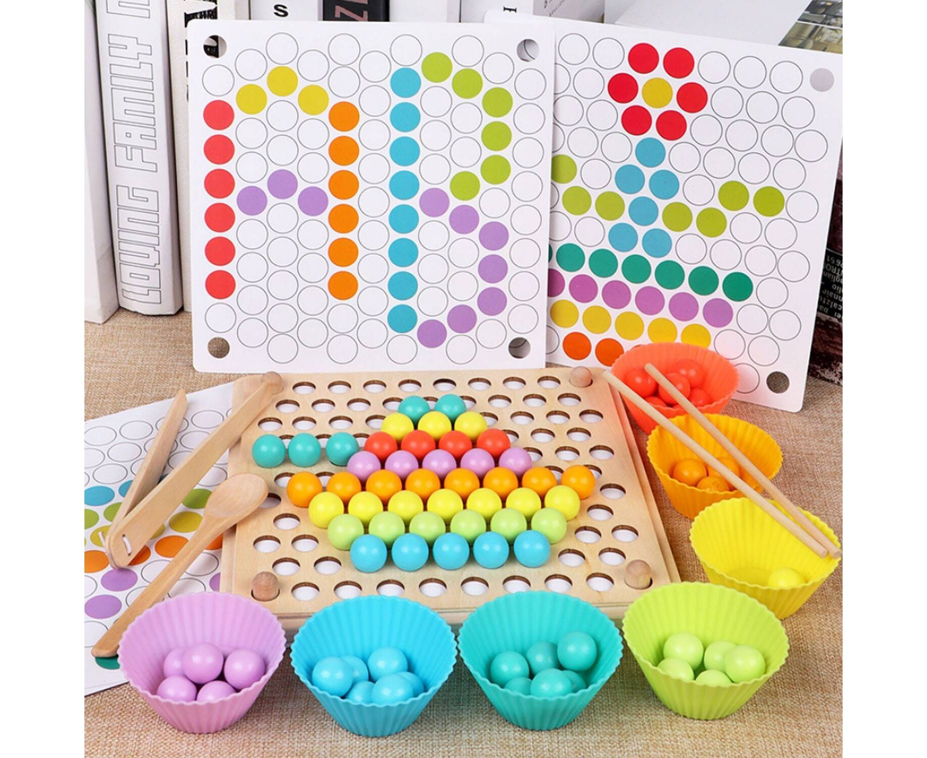 Wooden Toys Club Lacing Beads for Toddlers– Learning Tools Pretend Play 16pc Sew